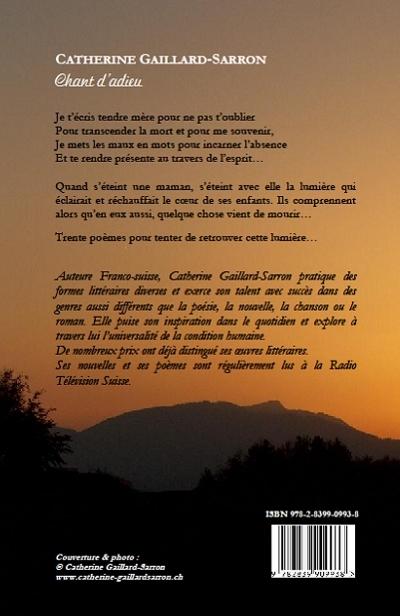 Chant d'adieu, poèmes, Catherine Gaillard-Sarron 2012