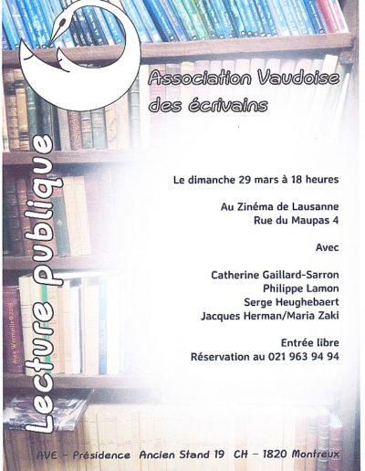 Lecture AVE au Zinéma de Lausanne le 29.3.15