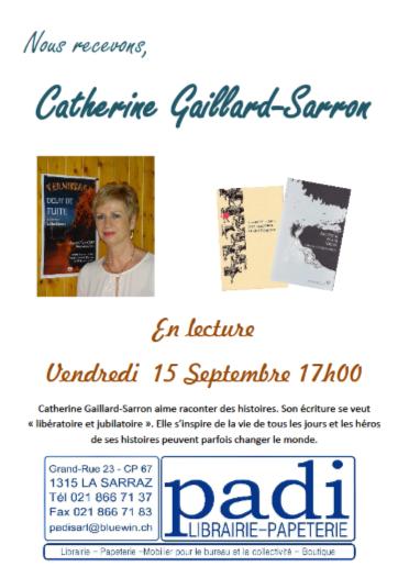 Affiche lecture Librairie Padi à la Sarraz le 15.9.17