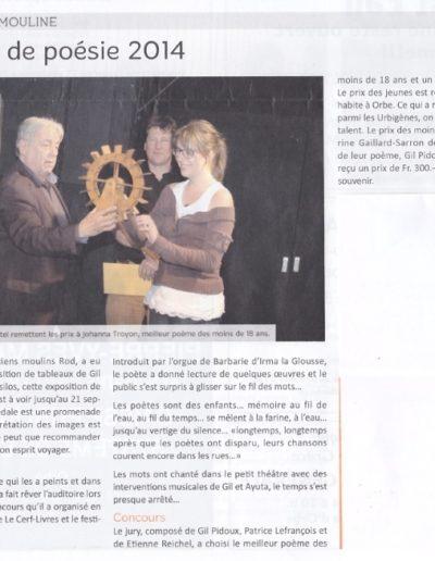22.8.14 Remise du 1er Prix poésie Moulin Mouline 22.8.14