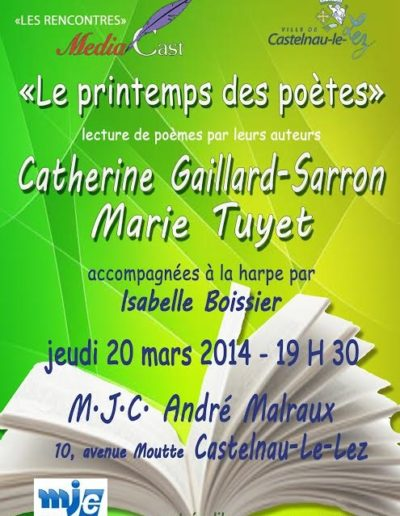 Récital Poésie Castelnau 20 mars 2014