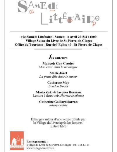 Samedi Littéraire à St-Pierre-de -Clages le 14 avril 2018