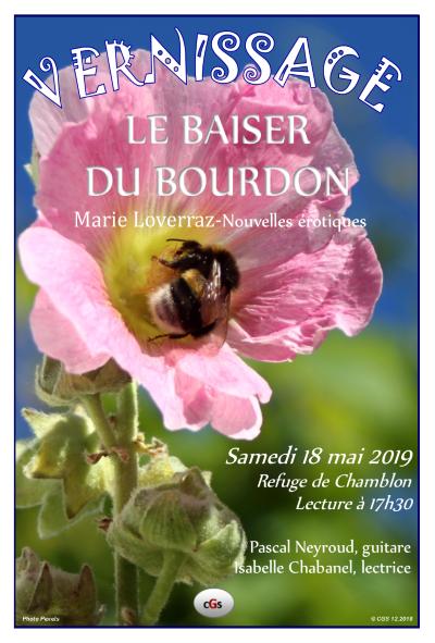 """Affiche Vernissage """"Le baiser du bourdon"""" de Marie Loverraz"""