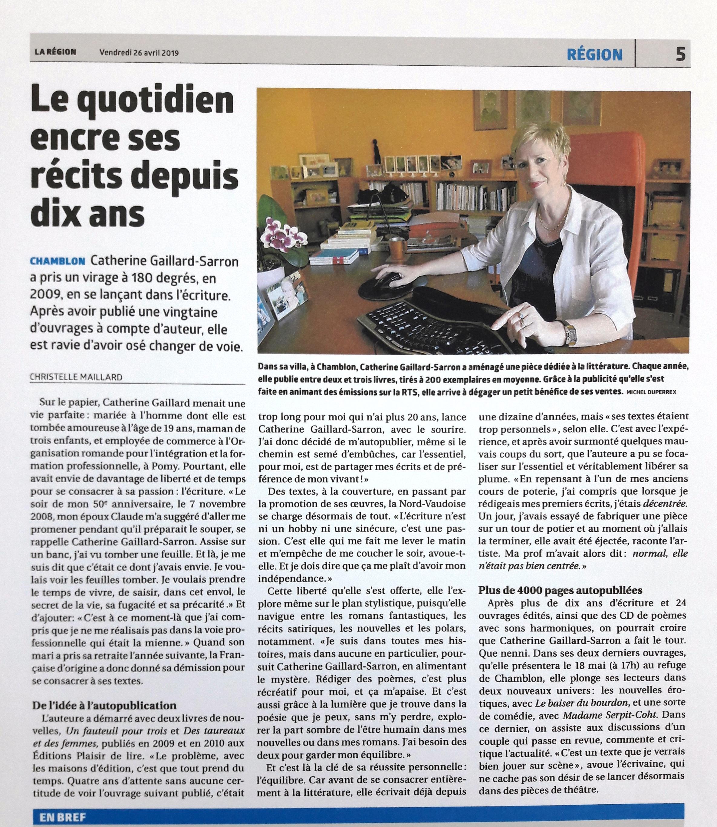 Catherine Gaillard-Sarron, La Région du 26.4.19