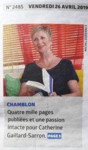 La Région 26.4.19, journal du Nord vaudois, article dur Catherine Gaillard-Sarron