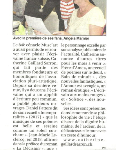 Article Catherine Gaillard-Sarron, Petit Journal de l'Hérault 11.10.19