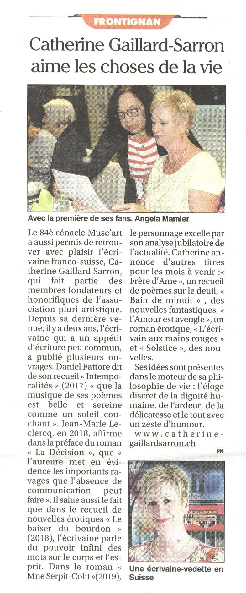 Article Catherine Gaillard-Sarron, Petit Journal de l'Hérault 11.10.19
