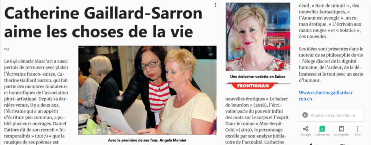 Article Catherine Gaillard-Sarron, Petit Journal de l'Hérault 10.10.19