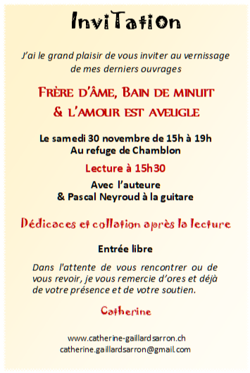 Invitation vernissage 30.11.19 de Catherine Gaillard-Sarron